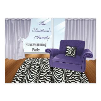 "zebra stripes, chic Purple sofa, mod invites 5"" X 7"" Invitation Card"