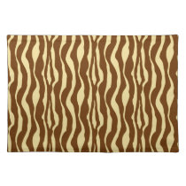 Zebra stripes - Chocolate Brown and Camel Tan Cloth Placemat