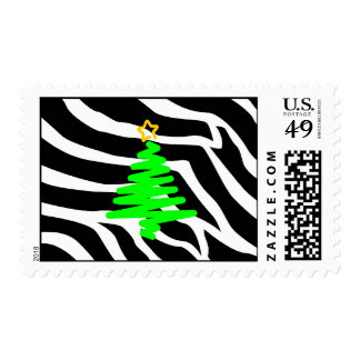 Zebra Stripes Christmas Postage Tree Green