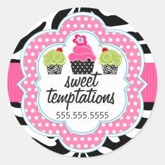 Zebra Stripes Cupcake Bakery Business Sticker
