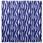 Zebra stripes - Dark Cobalt Blue and White Cloth Napkin