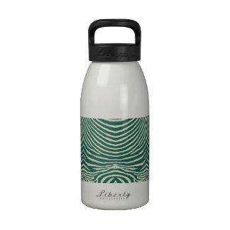 ZEBRA STRIPES: DEEP SAGE and ECRU DeepSageEcruZebr Reusable Water Bottle