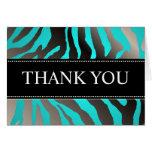 Zebra Stripes/DIY color, Aqua/Thank You Note Cards