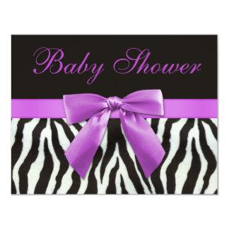 Zebra Stripes Faux Lilac Bow Baby Shower Card