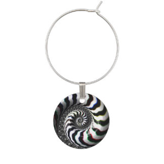 Zebra Stripes Fractal Spiral Pattern Wine Glass Charms