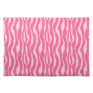 Zebra stripes - Fuchsia and light pink Cloth Placemat