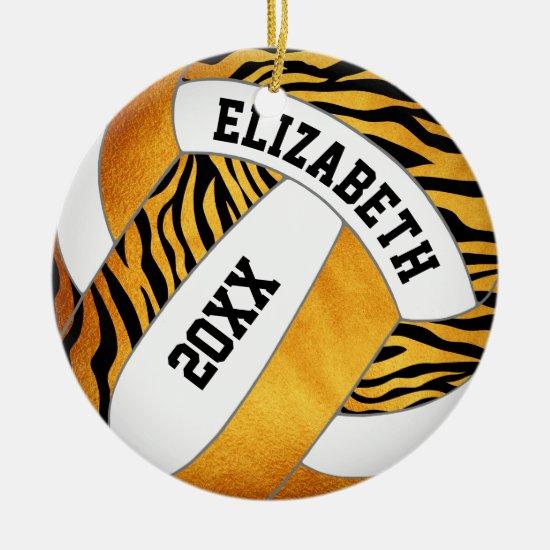 zebra stripes gold orange personalized volleyball ceramic ornament