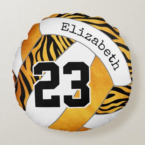 zebra stripes gold orange personalized volleyball round pillow