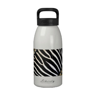 Zebra Stripes, Gold Studs, and Yellow Background Water Bottles