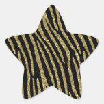 Zebra Stripes Golden Brass Elegance Star Sticker