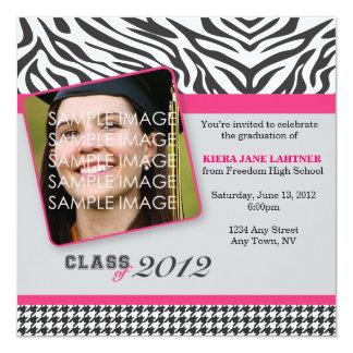 """Zebra Stripes Graduate Party Invitation 5.25"""" Square Invitation Card"""