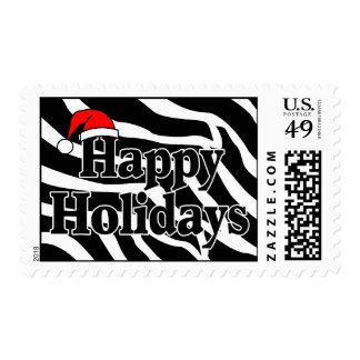 Zebra Stripes Happy Holidays Santa Hat Postage Stamp