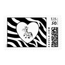 Zebra Stripes Heart Zebra Postage