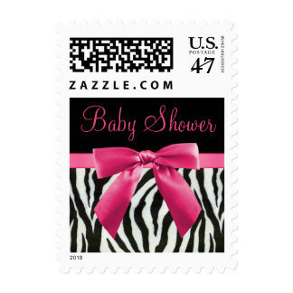Zebra Stripes & Hot Pink Bow Baby Shower Postage