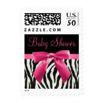 Zebra Stripes & Hot Pink Bow Baby Shower Postage