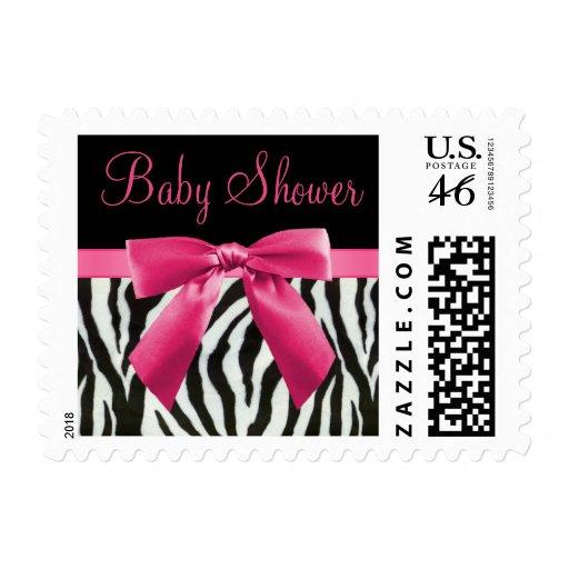 Zebra Stripes & Hot Pink Bow Baby Shower Postage Stamps