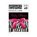 Zebra Stripes & Hot Pink Bow Baby Shower Postage Stamps
