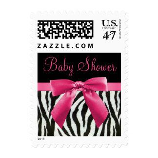 Zebra Stripes & Hot Pink Bow Baby Shower Stamp