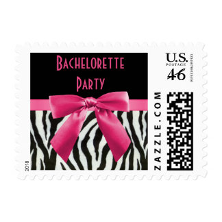 Zebra Stripes Hot Pink Bow Bachelorette Party Stamps
