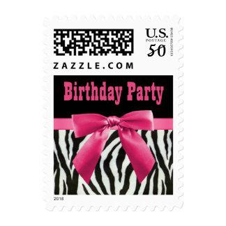 Zebra Stripes & Hot Pink Bow Birthday Party Postage