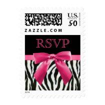Zebra Stripes & Hot Pink Bow RSVP Postage
