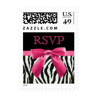 Zebra Stripes & Hot Pink Bow RSVP Postage Stamp