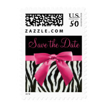 Zebra Stripes & Hot Pink Bow Save The Date Postage