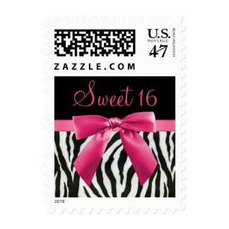 Zebra Stripes & Hot Pink Bow Sweet 16 Postage