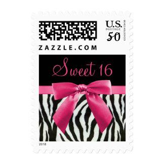 Zebra Stripes & Hot Pink Bow Sweet 16 Postage