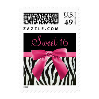 Zebra Stripes & Hot Pink Bow Sweet 16 Postage Stamp