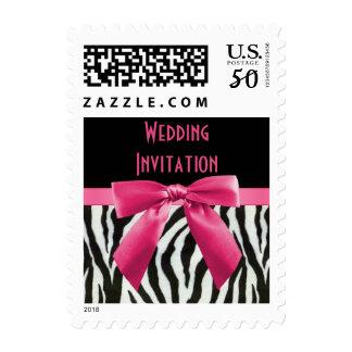 Zebra Stripes & Hot Pink Bow Wedding Invitation Postage