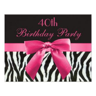Zebra Stripes Hot Pink Printed Bow 40th Birthday Personalized Invitation