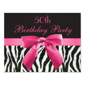 Zebra Stripes & Hot Pink Printed Bow 50th Birthday 4.25x5.5 Paper Invitation Card
