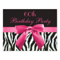 Zebra Stripes & Hot Pink Printed Bow 60th Birthday Invitation