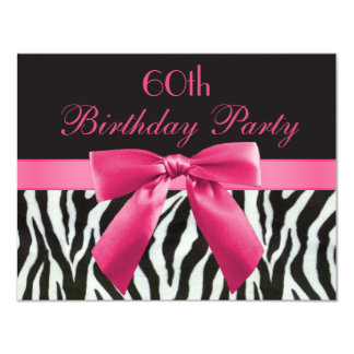 Zebra Stripes & Hot Pink Printed Bow 60th Birthday 4.25x5.5 Paper Invitation Card