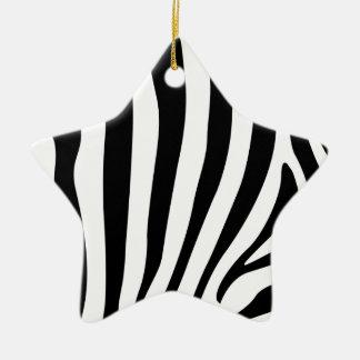 Zebra stripes in black and white pattern ceramic ornament