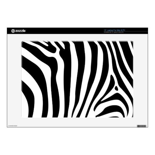"Zebra stripes in black and white pattern design skins for 15"" laptops"