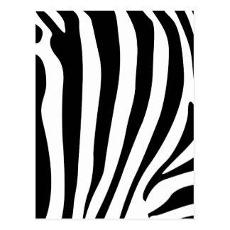 Zebra stripes in black and white pattern postcard