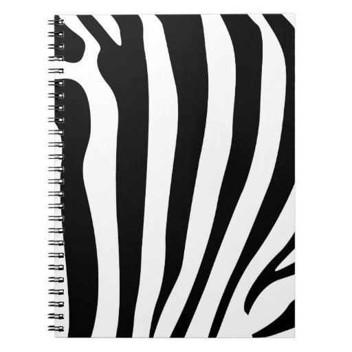 Zebra stripes in black and white pattern spiral notebook