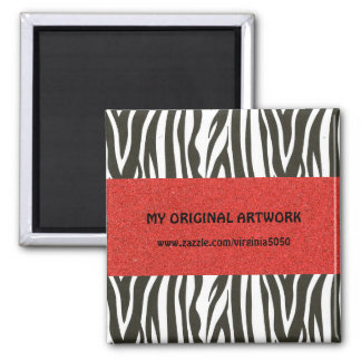 Zebra Stripes in Black and White with Red Stripe 2 Inch Square Magnet