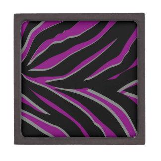 Zebra Stripes in Purple & Black Premium Keepsake Boxes