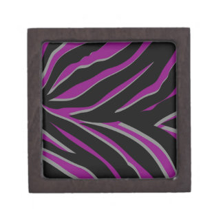 Zebra Stripes in Purple & Black Premium Keepsake Box