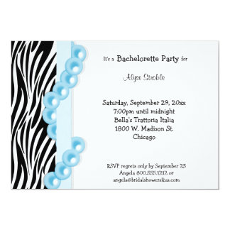 Zebra Stripes Light Blue Ribbon And Pearls 5x7 Paper Invitation Card