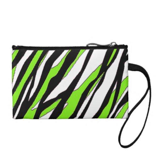 Zebra Stripes Lime Green Coin Wallet