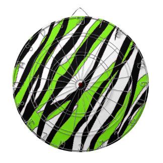 Zebra Stripes Lime Green Dartboard With Darts