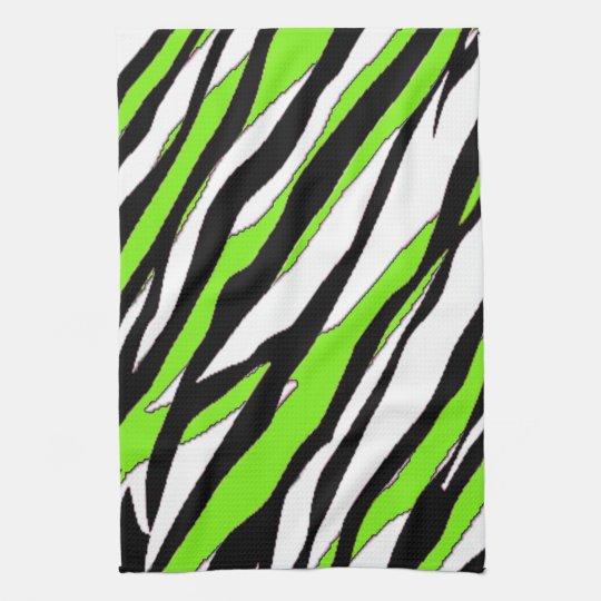 Zebra Tea Towels: Zebra Stripes Lime Green Hand Towel