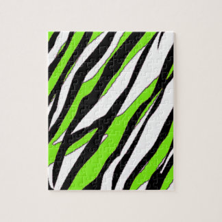 Zebra Stripes Lime Green Jigsaw Puzzle