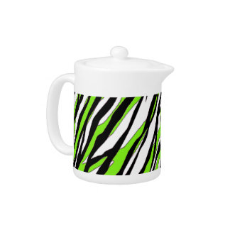 Zebra Stripes Lime Green Teapot