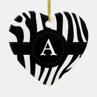 Zebra stripes monogram initial A custom Ceramic Ornament