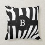 Zebra stripes monogram initial B custom pillow